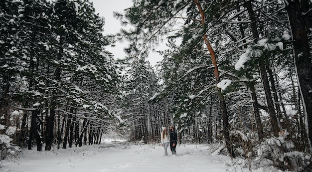 Para obejmuje w śnieżnym lesie na tle drzew