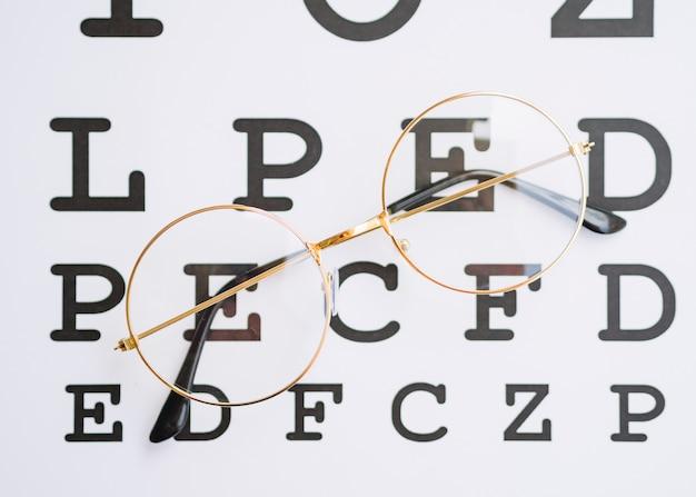 Para okrągłych okularów ze złotą ramką i pustym miejscem do testowania