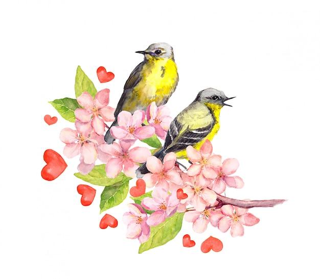 Para ptaków na wiosennej gałązce z kwiatami i sercami. akwarela na walentynki