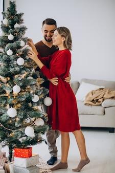 Para razem świętuje boże narodzenie w domu