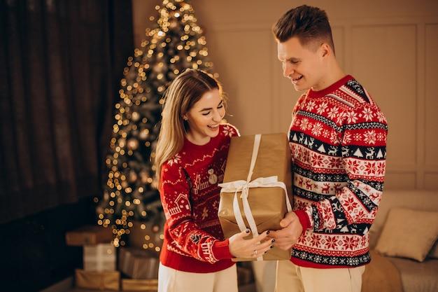 Para razem z prezentami świątecznymi przy choince