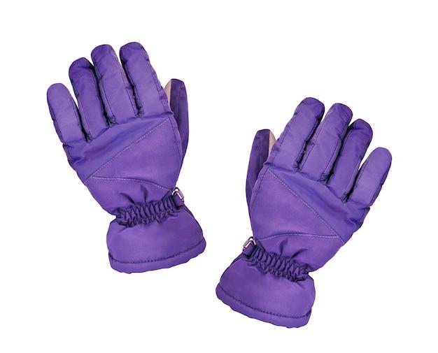 Para rękawiczek narciarskich na białym tle