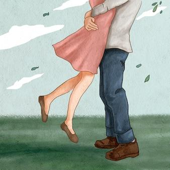 Para skacze przytulając romantyczny walentynkowy post w mediach społecznościowych