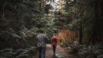 Para spaceru w lesie