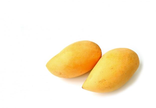 Para świeże dojrzałe mangowe całe owoc odizolowywać na białym tle