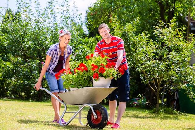 Para w ogrodzie z taczkami i kwiatami