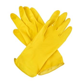 Para żółtych gumowych rękawic na białym tle