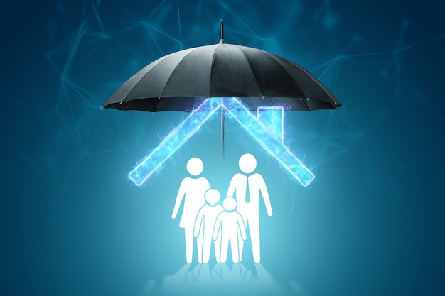 Parasol chroni figurki domu i rodziny. koncepcja ochrony rodziny