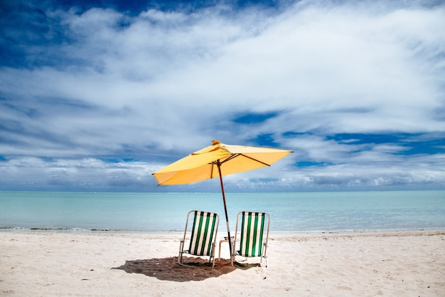 Parasol plażowy i zielone leżaki na brzegu