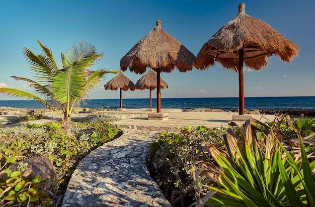 Parasole łaźni na skalistym wybrzeżu riwiery majów w meksyku w puerto aventuras.