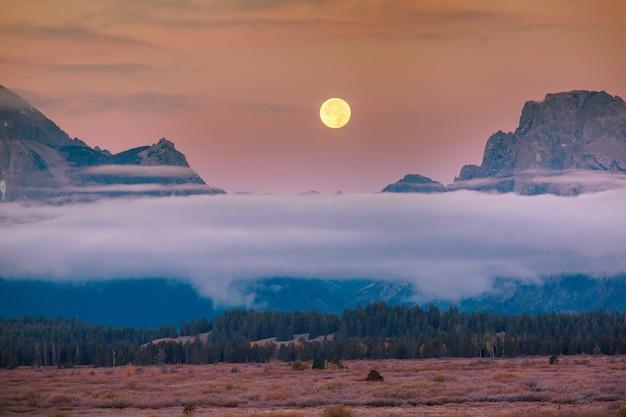 Park narodowy grand teton, wyoming, usa. filtr instagrama.