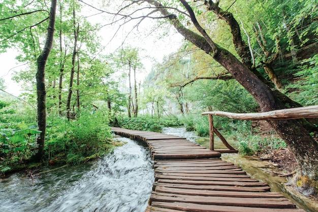 Park narodowy jezior plitwickich, trasa turystyczna na drewnianej podłodze wzdłuż wodospadu