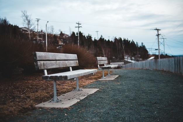 Park z drewnianymi ławkami