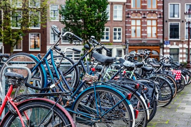 Parking rowerowy w amsterdamie. popularny ekologiczny środek transportu w mieście.