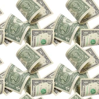 Partia banknotów jeden dolar rachunki na białym tle na białym tle. wzór lub tło.