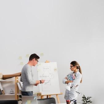 Partnerzy firmy patrząc na schemat biznesowy