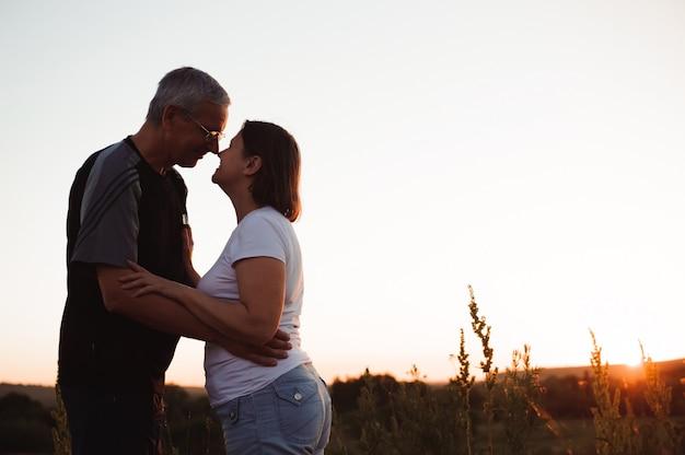 Pary mienia ręki przy zmierzchem cieszy się romans i słońce.