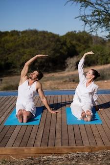 Pary spełniania joga przy safari wakacje