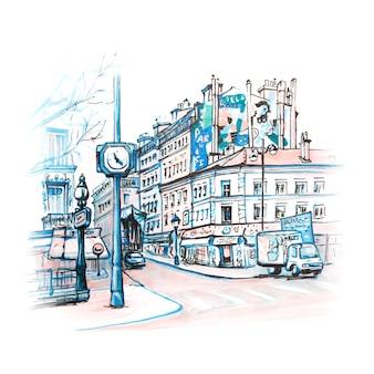 Paryska ulica z tradycyjnymi domami, kawiarniami i latarniami, paryż, francja. markery wykonane z obrazka