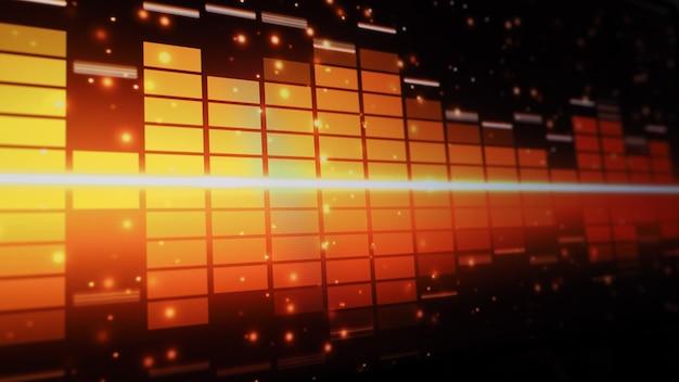 Pasek korektora muzycznego. korektor dźwięku na czarnym tle ekranu. muzyka lub fala dźwiękowa na monitorze. kolorowe streszczenie wizualizatora dźwięku. wykres muzyczny widma gradientu. cyfrowy wykres świeci w ciemności.