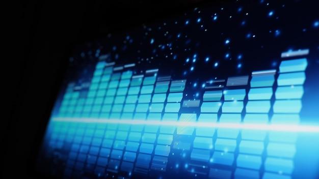 Pasek korektora muzycznego. korektor dźwięku na czarnym tle ekranu. muzyka lub fala dźwiękowa na monitorze.