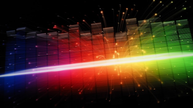 Pasek korektora muzyki. korektor przebiegu dźwięku na czarnym tle ekranu. muzyka lub fala dźwiękowa na monitorze. kolorowy wizualizator dźwięku streszczenie. wykres muzyczny widma gradientu. cyfrowy wykres świeci w ciemności.