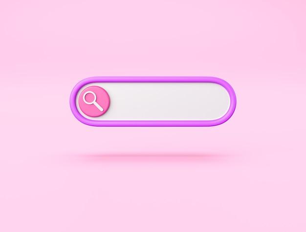 Pasek wyszukiwania 3d na różowym tle