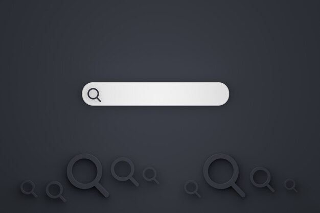 Pasek wyszukiwania i wyszukiwanie ikon 3d renderują minimalistyczny wygląd na czarnym tle