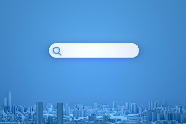 Pasek wyszukiwania i wyszukiwanie ikon z mapami 3d renderują minimalistyczny wygląd na pustym tle