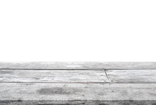 Pasiasty drewniany szary blat na białym tle. zamontuj swój produkt
