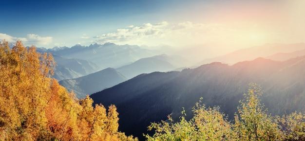 Pasmo górskie w karpatach w sezonie jesiennym.