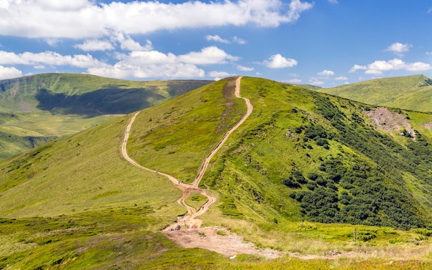 Pasmo górskie z żwirową drogą i pieszych. karpackie góry na ukrainie w lecie