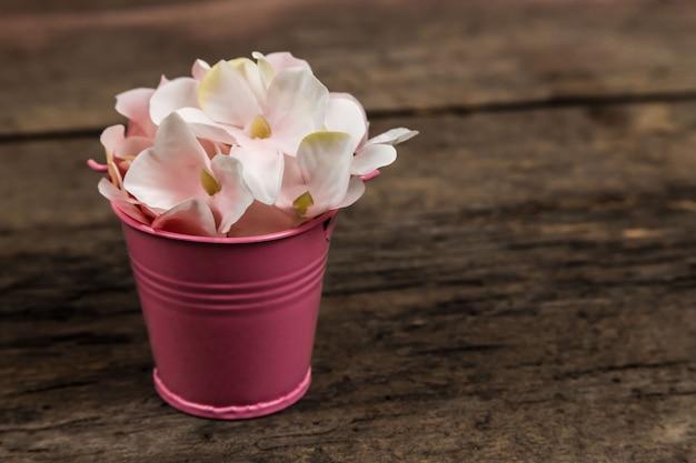Pastelowa różowa hortensja kwitnie w małym wiadrze na drewnie. miejsce na tekst