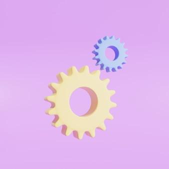 Pastelowe dwa koła zębate na białym tle na fioletowym tle. minimalna koncepcja.