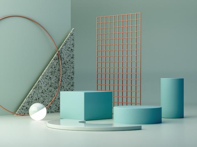 Pastelowe kolory kształtują na błękitnym pastelowych kolorów abstrakta tle. podium z minimalnymi pudełkami.