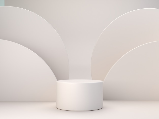 Pastelowe kolory kształtują na naturalnych pastelowych kolorów abstrakta tle. minimalne podium butli. scena z formami geometrycznymi. pusta prezentacja, prezentacja produktu kosmetycznego. magazyn modowy. renderowania 3d.