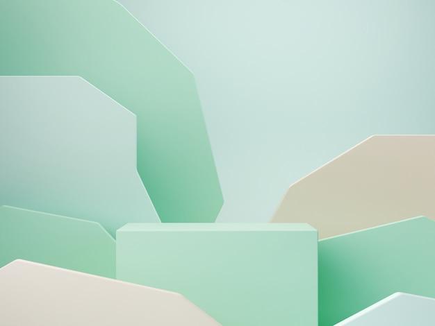 Pastelowe kolory kształtują na zielonym pastelowym koloru abstrakta tle. podium w minimalnych skrzyniach. scena z formami geometrycznymi. pusta wizytówka do prezentacji produktów kosmetycznych. magazyn modowy. renderowania 3d.