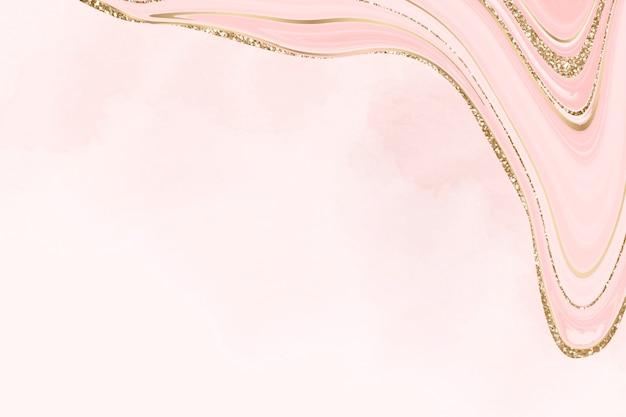 Pastelowe różowe marmurowe tło ze złotą podszewką