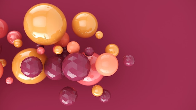 Pastelowe różowe pęcherzyki abstrakcyjne tło z kulkami