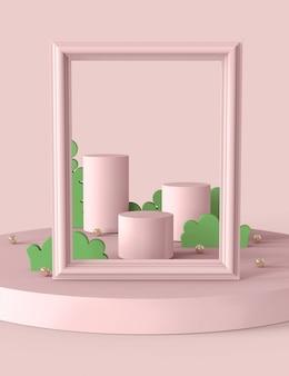 Pastelowe różowe podium i streszczenie dla produktów pokazowych