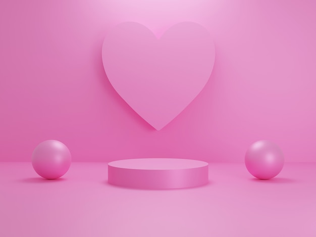 Pastelowe różowe serce lub tło sceny podium w kształcie miłości do stojaka na produkt z obiektem kuli
