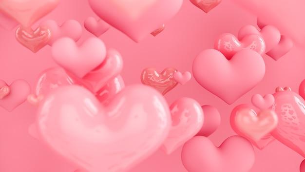 Pastelowe różowe serduszka. streszczenie tło z serca. kartka z życzeniami, plakat. walentynki. renderowanie 3d.
