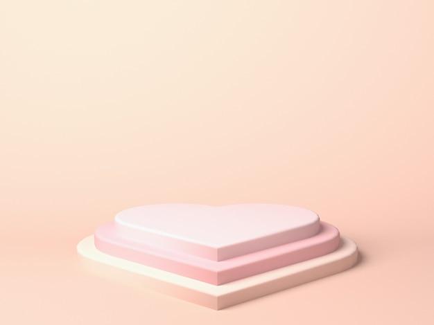 Pastelowe różowe tło podium w kształcie serca na stojak na produkty lub używane w innych projektach. renderowanie 3d