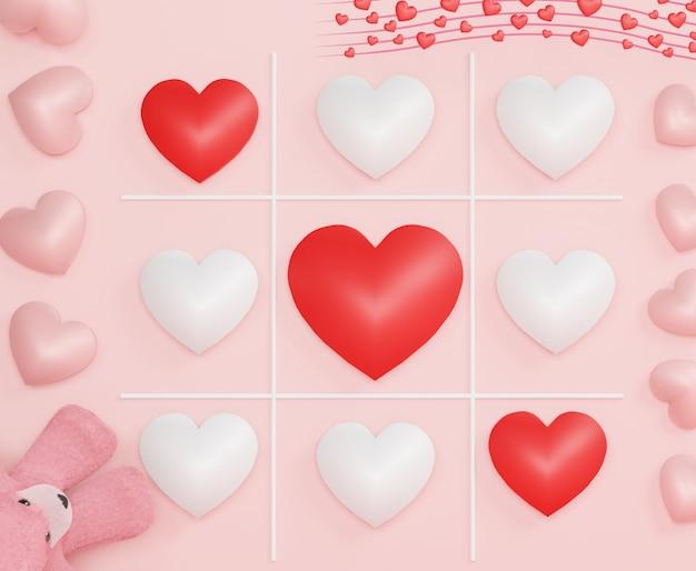 Pastelowe serce w grze kółko i krzyżyk xo szczęśliwych walentynek i rocznic. sprzedaż w tle. minimalna koncepcja