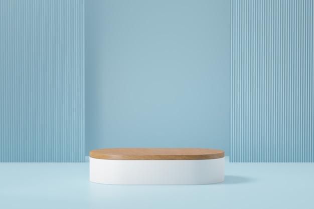 Pastelowe tło podium długi pasek. drewniana biała okrągła scena w jasnoniebieskim kolorze motywu. ilustracja renderowania obrazu 3d.