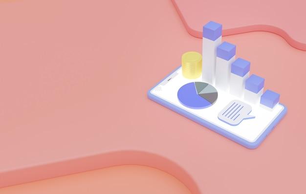 Pastelowy monochromatyczny minimalny, zakupy online na smartfonie, marketing, wzrost sprzedaży i obiegu, zachowanie konsumentów, kopia przestrzeń renderowania 3d