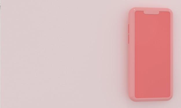 Pastelowy różowy smartfon z miejscem na tekst w minimalistycznym stylu reklama w mediach społecznościowych