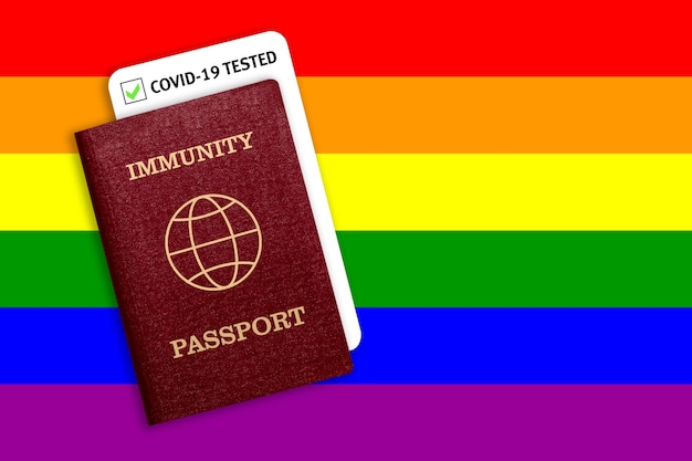 Paszport odporności i wynik testu na covid-19 na fladze lgbt. certyfikat dla osób, które przeszły koronawirusa lub zrobiły szczepionkę.