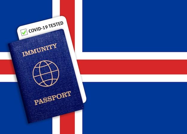 Paszport odporności z testem covid na fladze narodowej islandii