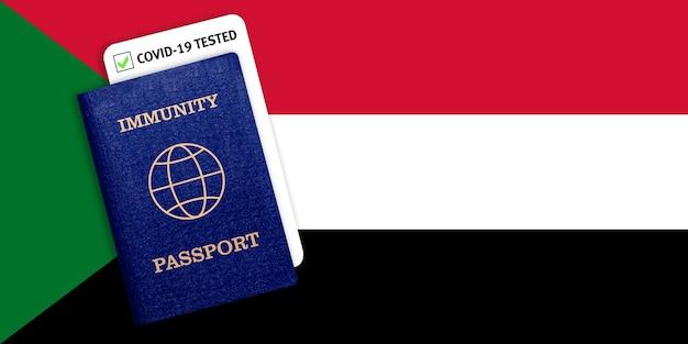 Paszport odporności z testem covid na fladze narodowej sudanu